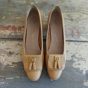 Ferragamo tassle front tan leather Oxford shoes 7